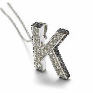 Suzy LeVian K Initial Silver Pendant Necklace